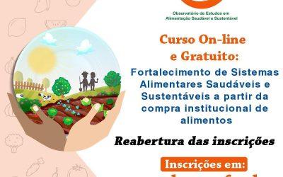 Está reaberto o Curso Fortalecimento de Sistemas Alimentares Saudáveis e Sustentáveis a partir da compra institucional de alimentos